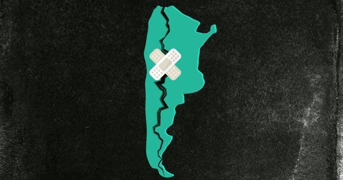 Mapa en alusión a la grieta política en Argentina