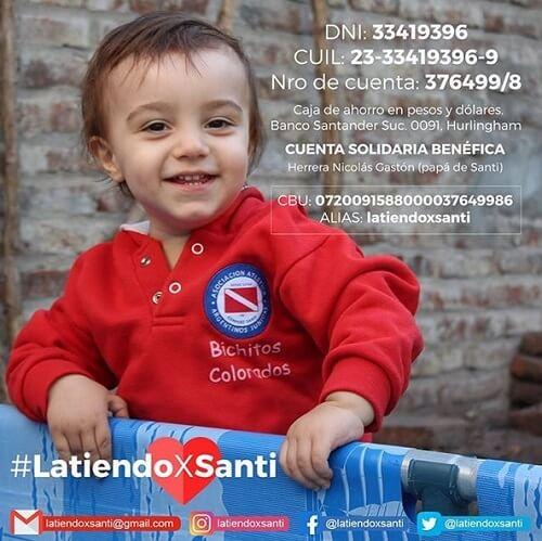 """""""Latiendo por Santi"""" es la campaña solidaria lanzada por los padres de Santiago Herrera, quien necesita viajar a Boston para operarse."""