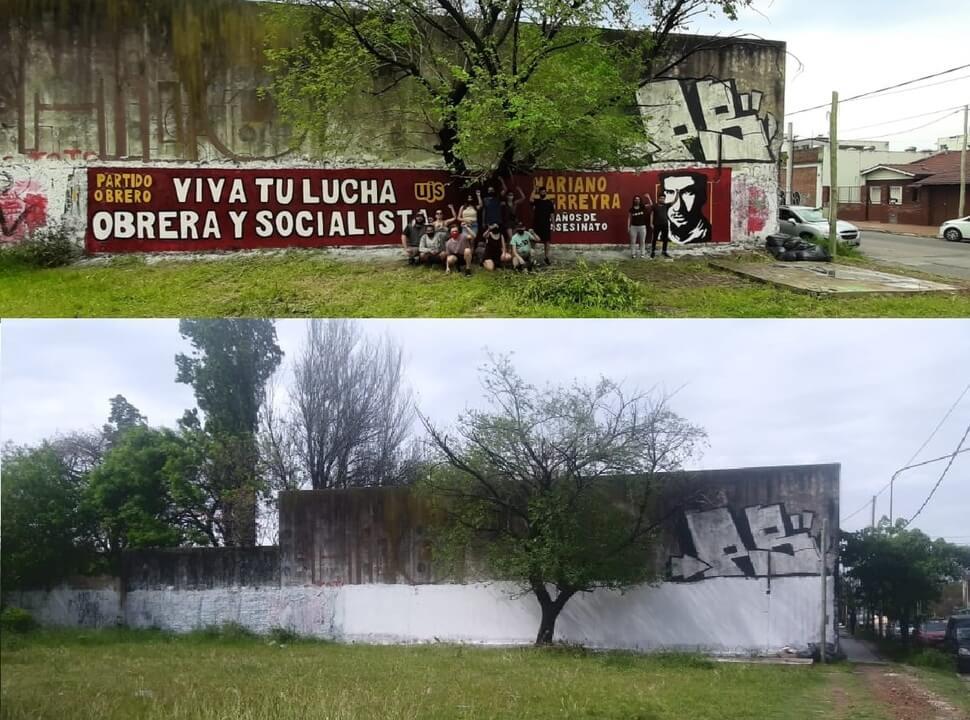Denuncian que el oficialismo borró un mural de Mariano Ferreyra en La Matanza